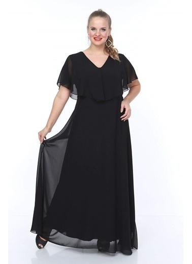 Angelino Butik Angelino Büyük Beden Beli Lastikli V Yaka Şifon Abiye Elbise NV4016 Siyah